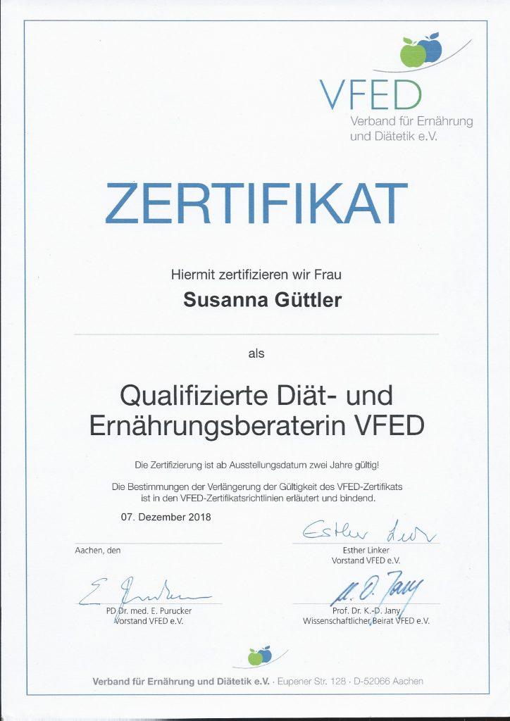 VFED Zertifikat Susanna Güttler